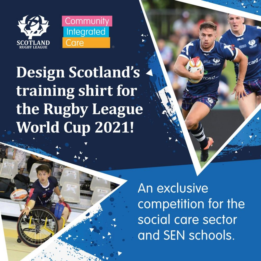 T shirt design competition graphic with Scotland Rugby League World Cup 2021